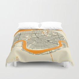 New Orleans Map Moon Duvet Cover
