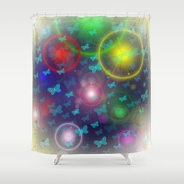 many colorful small butterflies on a colorful background Shower Curtain