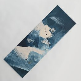 Against the Current: A bold, minimal abstract acrylic piece in blue, white and gold Yoga Mat