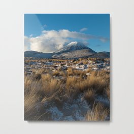 Mt Ngauruhoe Snow Dusting Metal Print