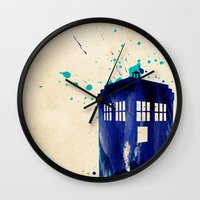 rustic Wall Clocks featuring Doctor Who TARDIS Rustic by Art by Colin