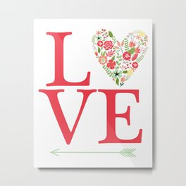 LOVE Typography floral print heart floral pink green  Metal Print