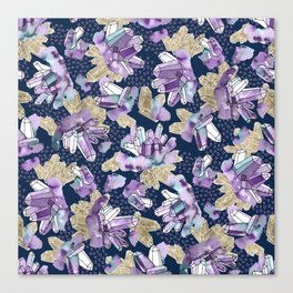 Amethyst Crystal Clusters / Violet, Blue and Gold Canvas Print