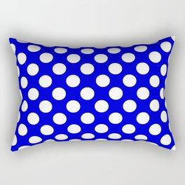 Royal Blue With Large White Polka Dots Rectangular Pillow