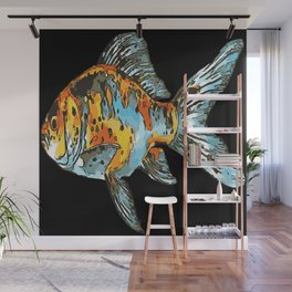 Blue and Orange Shubunkin Goldfish Isolated Wall Mural