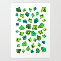 Green beautiful hand drawn gems. Art Print