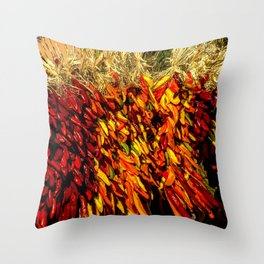Ristras made from green, yellow, orange and red chile peppers Throw Pillow