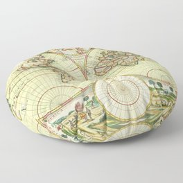 A new mapp of the world (1702) Floor Pillow