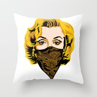 gangster Throw Pillows featuring Gangster Lady by UrbanCandy