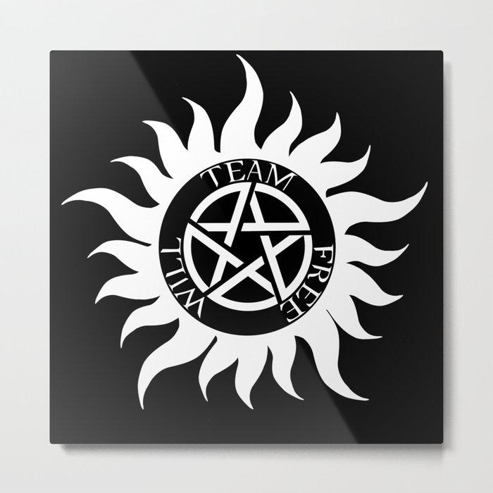 Team Free Will Anti Possession Symbol Supernatural White Metal