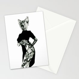 The Hipster Sphynx (female version) Stationery Cards
