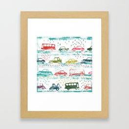 cars in the rain Framed Art Print