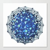 snowflake Canvas Prints featuring Snowflake by LDBEAN