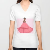 rihanna V-neck T-shirts featuring Rihanna by Lunnorart