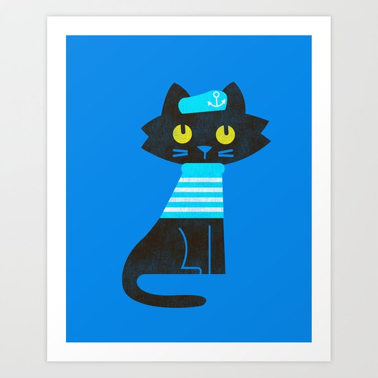 Fitz - Sailor cat Art Print