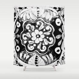 Black and White Talavera Eleven Shower Curtain