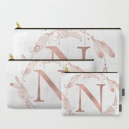 Letter N Rose Gold Pink Initial Monogram Carry-All Pouch