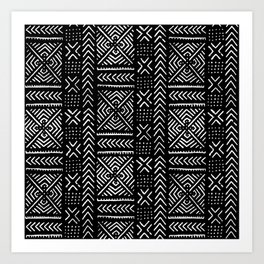 Line Mud Cloth // Black Art Print