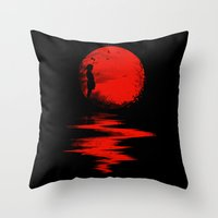 fall Throw Pillows featuring The Land of the Rising Sun by nicebleed