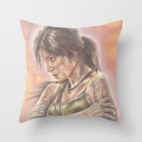 lara croft Throw Pillows featuring Miss Croft by JadeJonesArt