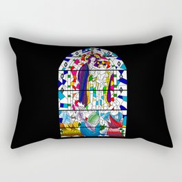 Mary and Jesus - stained glass window style Rectangular Pillow