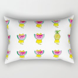 Yellow cats and summer fruits - fresh and fruity pouch ! Rectangular Pillow