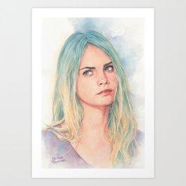 Cara Delavingne watercolor Art Print