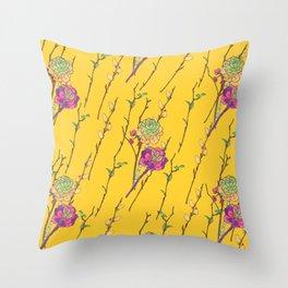 oriental flower stripe yellow Throw Pillow