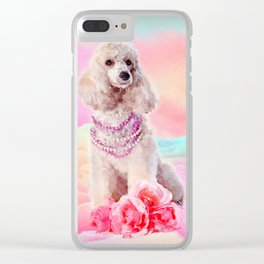 Watercolor digital art Poodle with flowers Clear iPhone Case