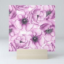 Anemone flowers watercolor pattern Mini Art Print
