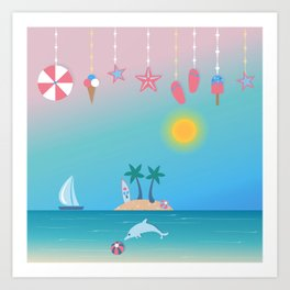 Cute Summer background with hanging icons. Art Print