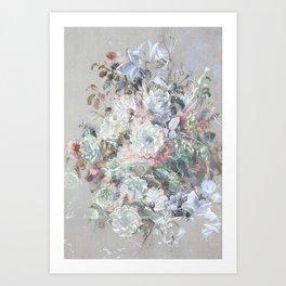 Delicate vintage subtle pastel floral abstract Art Print