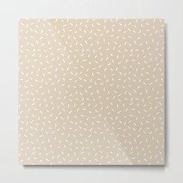 Tan Cream Boho Lines Handmade Mud Cloth  Metal Print
