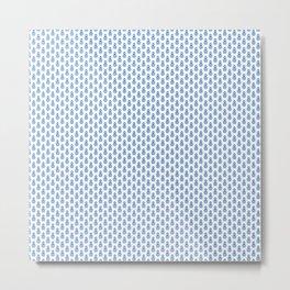 Indian Flowers Blockprint 1 (Mid Blue) Metal Print