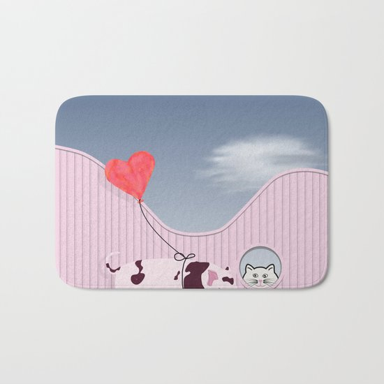 Baby Pig and Cat Design Bath Mat