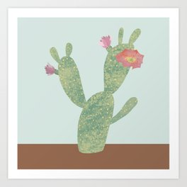prickly pear cactus with flower Art Print