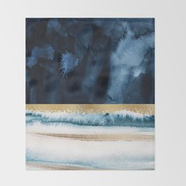 Navy Blue, Gold And White Abstract Watercolor Art Throw Blanket
