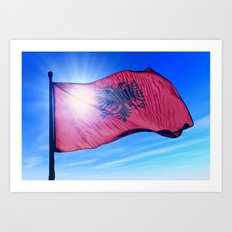 Albania flag waving on the wind Art Print
