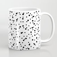 polkadot Mugs featuring Polkadot White Pattern by Pan Lis