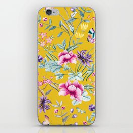 Yellow Chinoiserie Asian Floral Print iPhone Skin