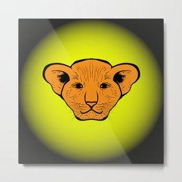 lion cub drawn. lion cub drawn from human gaze Metal Print