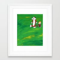 calvin hobbes Framed Art Prints featuring Calvin & Hobbes - Green by Always Add Color