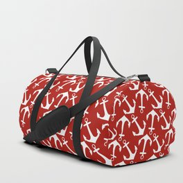 Maritime Nautical Red and White Anchor Pattern - Anchors Duffle Bag