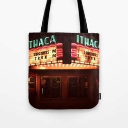 Night Lights Ithaca Theater Tote Bag
