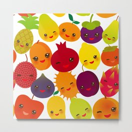 kawaii fruit Pear Mangosteen tangerine pineapple papaya persimmon pomegranate lime Metal Print