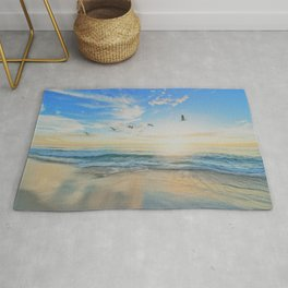Beach - Ocean - Sundown - Sunrise - Seashore - Birds - Clouds Rug