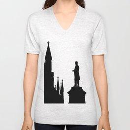 Statue in black/white Ottawa Parliament Canada Unisex V-Neck
