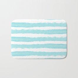 Aqua Blue- White- Stripe - Stripes - Marine - Maritime - Navy - Sea - Beach - Summer - Sailor 2 Bath Mat