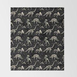 Dinosaur Fossils on Black Throw Blanket