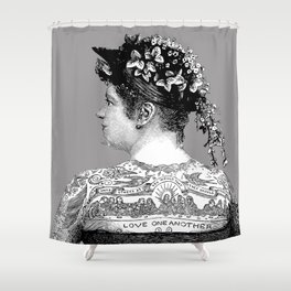 Tattooed Victorian Woman | Tattooed Woman | Vintage Tattoos | Victorian Tattoos | Victorian Gothic | Shower Curtain